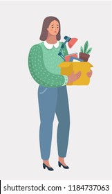 Young woman dismissed from work in office. Dismissed female worker crying and holding carton box with her belongings. Termination of employment. Vector cartoon illustration in modern concept