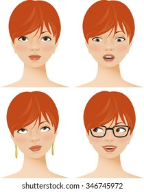 Young woman displaying four different facial expressions or emotions, including fear or surprise, boredom, and pleasure. Vector illustration.