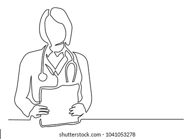 Young woman doctor with long hair is holding a stack of sheets of paper. One line drawing isolated vector object by hand on a white background.
