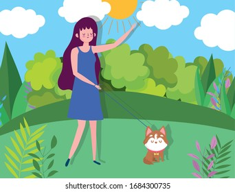 young woman and dog in the park healthy life vector illustration