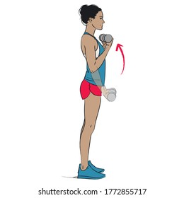 young woman doing arms exercise - bicep curl with dumbbells - colour series