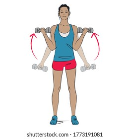 young woman doing arms exercise - wide angle bicep curl with dumbbells - colour series