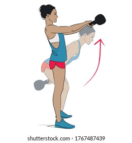 young woman doing exercise - kettlebell swings  - vector series