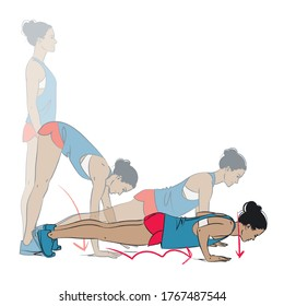 young woman doing exercise - plank walk outs with push up - vector series