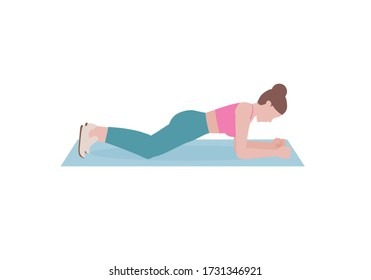 Young woman doing exercises. woman in pink shirt and a blue Long legs. Step by step instruction for doing Knees Plank. Sports silhouettes. Fitness and health concepts.