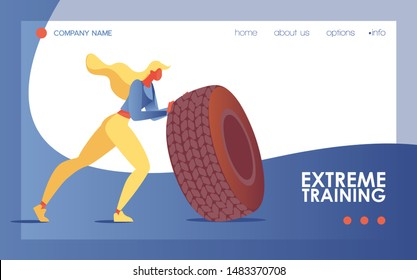 Young woman doing extreme training exercise with large tire. Sport landing page or banner good for gym and bodybuilding class or studio with blue wave