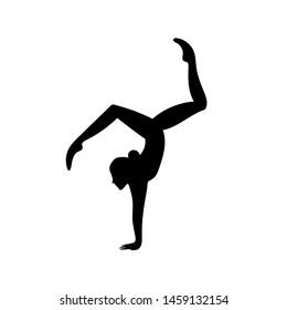 Young woman doing gymnastics . Vector illustration on white background.