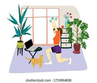 Young woman doing her workout in the living room.Girl doing squats using dumbbells in front of a laptop in cozy house interior.Concept of home fitness. Illustration in flat style of girl doing sport.