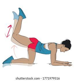 young woman doing leg / glutes exercise - kneeling donkey kick leg raise - colour vector series