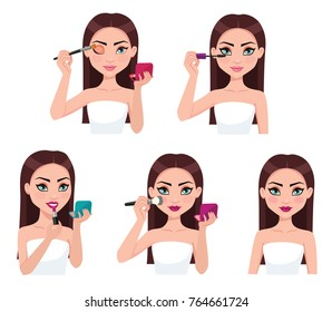 Young woman doing makeup. Vector illustrations.