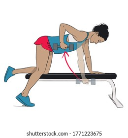 young woman doing shoulder exercise - dumbbell single arm bent over row kneeling on bench - colour vector series