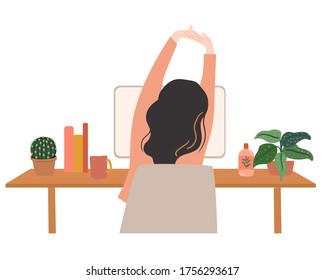 young woman doing stretching while working