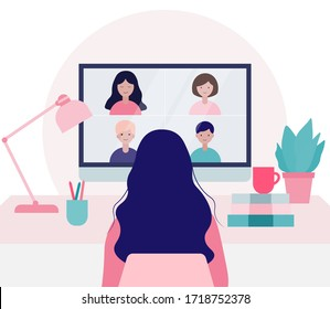 Young woman doing video conference with colleagues in computer. Online meeting via group call.Online education concept in quarantine.Flat vector illustration.Stay home concept.