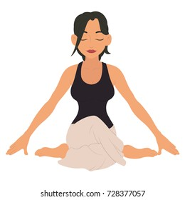young woman doing yoga. fitness character. vector illustration