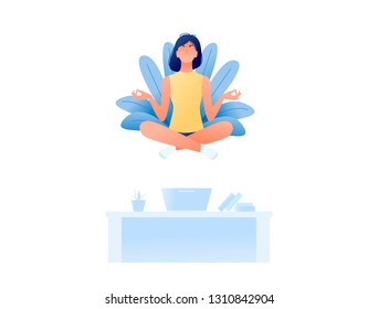 Young woman doing yoga and get calm in office and find new ideas for work. Finding solutions through meditation. Relax, meditation, good time management concept. Flat style design. Vector illustration