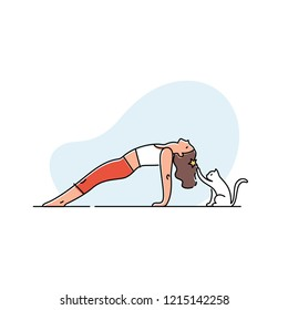 Young woman doing yoga with her cat. Vector illustration.