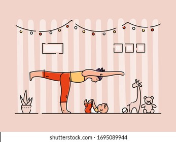 Young woman doing yoga with her child at her apartment. Mother exercising with her little baby kid at home. Flat vector illustration.