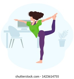 Young woman doing yoga in the office. Coping with stress at work. Relaxation, meditation and stretching. The girl is standing in the asana next to the table and the computer. Vector illustration.