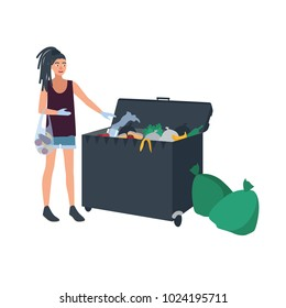Young woman with dreadlocks picking leftover food from garbage container or trash bin. Female freegan dumpster diving. Flat cartoon character isolated on white background. Colored vector illustration.