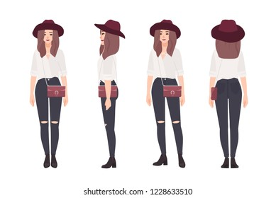 f96c0859d06 Young woman dressed in fashionable clothes. Stylish smiling girl. Female  cartoon character isolated on