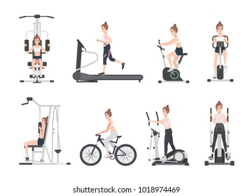 Young woman dressed in fitness apparel doing sports training on exercise machines at gym. Female cartoon character during power and weight loss workout. Front and side views. Flat vector illustration.