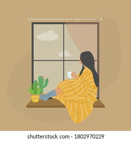 Young woman drinking tea or coffee and looking through window while sitting on windowsill at home with cozy blanket. Vector illustration meditating concept.