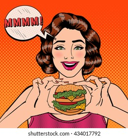 Young Woman Eating Hamburger. Girl with Burger. Pop Art. Vector illustration
