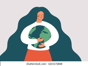 Young woman embraces green planet Earth with care and love. Vector illustration of Earth day and saving planet. Environment conservation and energy saving concept.
