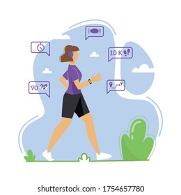 A young woman is engaged in walking in the fresh air. A woman wears a fitness tracker, pedometer. Vector illustration.