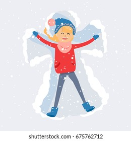 Young woman enjoy first snowfall. Happy blond girl lying in snow on back and moving arms and legs flat vector. Smiling lady making snow angel cartoon illustration for winter entertainments concept
