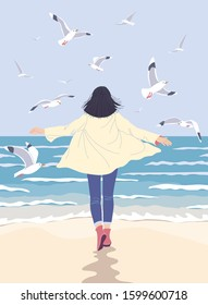 Young woman enjoy at the sea coast. Dreamy girl walking along the seaside back view. Serenity landscape with blue water, small waves and flying gulls vector flat illustration.