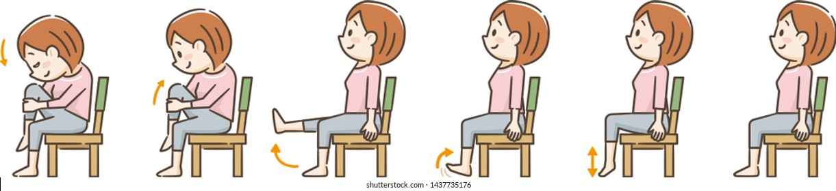 Young woman exercising with a chair