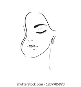 Young woman face. Beautiful woman wearing earrings. Vector art. Glamour fashion beauty woman face illustration.