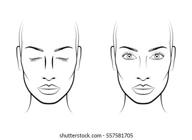 Young woman. Face chart Makeup Artist Blank. Template.