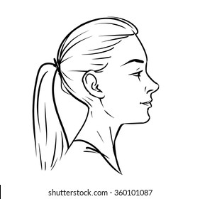 Young woman face side drawing. vector black and white graphic