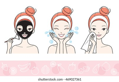 Young Woman With Facial Mask Step, Treatment, Beauty, Cosmetic, Makeup, Healthy, Lifestyle