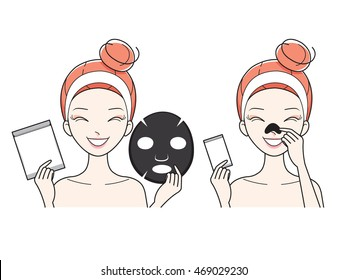 Young Woman With Facial, Nose Mask Sheet, Treatment, Beauty, Cosmetic, Makeup, Healthy, Lifestyle