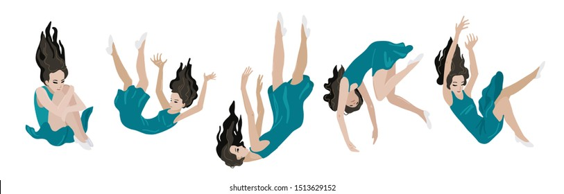 Young woman is falling down in different poses. The concept of failure or oppression. Depressed state, psychological state of personality. Flat cartoon vector illustration isolated on white background