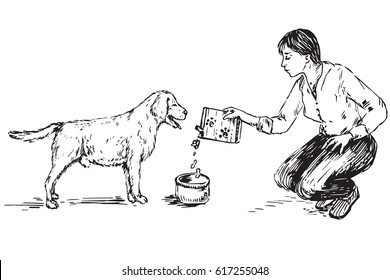Junge Frau füttert Hund (Labrador), handgezeichnete Doodle, Skizze im Stile der Pop-Art, schwarz-weiße Vektorgrafik