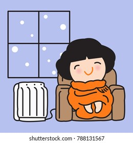 Young Woman Feeling Happy Wrapped In A Warm Orange Blanket And Sitting Cozy On Sofa Near Electric Heater In Winter Concept Card Character illustration