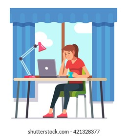 Young woman fell asleep working on laptop computer at her home office working desk. Flat style color modern vector illustration.