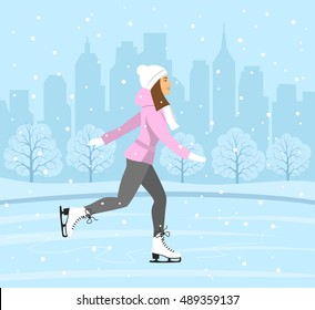 Young Woman Figure Skating on Ice rink . Cityscape landscape background scene. Winter Fun Sport Activities Vector Illustration