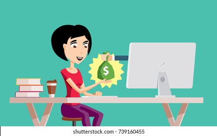 Young Woman Freelance Employee is Getting Paid Online. Internet Casino Gambling Game Winner Gets Bag of Money with Dollar Sign Vector Art Design Illustration