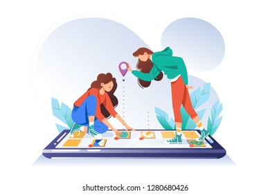 Young woman friends with cellphone looking for app map place with point. Concept girl with mobile device, phone with internet, online program. Vector illustration.