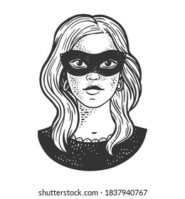Young woman girl in black masquerade mask sketch engraving vector illustration. T-shirt apparel print design. Scratch board imitation. Black and white hand drawn image.