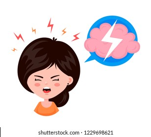 Young woman girl with a headache, compassion fatigue, a with a disease of the head, young girl feels anguish. migraine, health problems and pain head stress.Vector flat cartoon character illustration