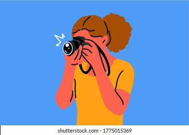 young woman girl photographer character making pgotos or taking pictures in studio. Creative hobby job profession and active lifestyle illustration.