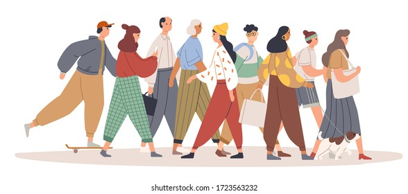 Young woman going against the flow. Person opposing the crowd. Girl choose her own way. Female character moving against the stream. Colorful vector illustration in flat cartoon style