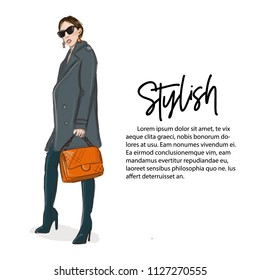Young woman in grey coat and over knee boots with orange handbag illustration. Fashoin business outlook. Stylish girl casual offise style.  Street style glamour runaway. Magazine fashion print card.