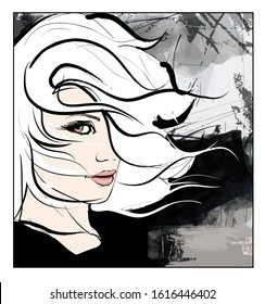 young woman with hair in the wind over grunge background - vector illustration (Ideal for printing on fabric or paper, poster or wallpaper, house decoration)
